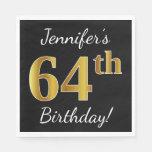 [ Thumbnail: Black, Faux Gold 64th Birthday + Custom Name Napkin ]
