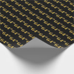 [ Thumbnail: Black, Faux Gold 64th (Sixty-Fourth) Event Wrapping Paper ]