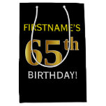 [ Thumbnail: Black, Faux Gold 65th Birthday + Custom Name Gift Bag ]
