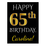 [ Thumbnail: Black, Faux Gold 65th Birthday + Custom Name Postcard ]