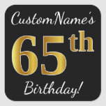 [ Thumbnail: Black, Faux Gold 65th Birthday + Custom Name Sticker ]