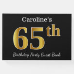 [ Thumbnail: Black, Faux Gold 65th Birthday Party + Custom Name Guest Book ]