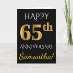 [ Thumbnail: Black, Faux Gold 65th Wedding Anniversary + Name Card ]