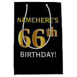 [ Thumbnail: Black, Faux Gold 66th Birthday + Custom Name Gift Bag ]