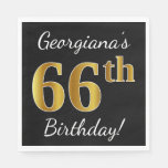 [ Thumbnail: Black, Faux Gold 66th Birthday + Custom Name Napkin ]