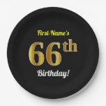 [ Thumbnail: Black, Faux Gold 66th Birthday + Custom Name Paper Plate ]