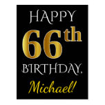 [ Thumbnail: Black, Faux Gold 66th Birthday + Custom Name Postcard ]