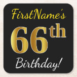 [ Thumbnail: Black, Faux Gold 66th Birthday + Custom Name Paper Coaster ]