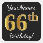 [ Thumbnail: Black, Faux Gold 66th Birthday + Custom Name Sticker ]