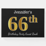 [ Thumbnail: Black, Faux Gold 66th Birthday Party + Custom Name Guest Book ]