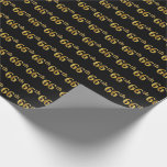 [ Thumbnail: Black, Faux Gold 66th (Sixty-Sixth) Event Wrapping Paper ]