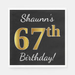 [ Thumbnail: Black, Faux Gold 67th Birthday + Custom Name Napkin ]