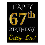 [ Thumbnail: Black, Faux Gold 67th Birthday + Custom Name Postcard ]