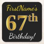 [ Thumbnail: Black, Faux Gold 67th Birthday + Custom Name Paper Coaster ]