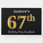 [ Thumbnail: Black, Faux Gold 67th Birthday Party + Custom Name Guest Book ]