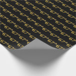 [ Thumbnail: Black, Faux Gold 67th (Sixty-Seventh) Event Wrapping Paper ]