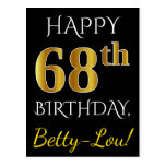 [ Thumbnail: Black, Faux Gold 68th Birthday + Custom Name Postcard ]