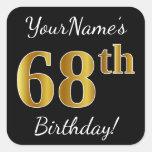 [ Thumbnail: Black, Faux Gold 68th Birthday + Custom Name Sticker ]