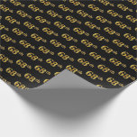 [ Thumbnail: Black, Faux Gold 68th (Sixty-Eighth) Event Wrapping Paper ]