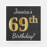 [ Thumbnail: Black, Faux Gold 69th Birthday + Custom Name Paper Napkin ]