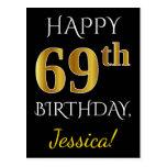 [ Thumbnail: Black, Faux Gold 69th Birthday + Custom Name Postcard ]