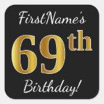 [ Thumbnail: Black, Faux Gold 69th Birthday + Custom Name Sticker ]