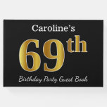 [ Thumbnail: Black, Faux Gold 69th Birthday Party + Custom Name Guest Book ]