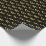 [ Thumbnail: Black, Faux Gold 69th (Sixty-Ninth) Event Wrapping Paper ]