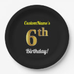 [ Thumbnail: Black, Faux Gold 6th Birthday + Custom Name Paper Plate ]