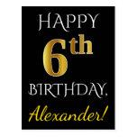 [ Thumbnail: Black, Faux Gold 6th Birthday + Custom Name Postcard ]