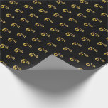 [ Thumbnail: Black, Faux Gold 6th (Sixth) Event Wrapping Paper ]