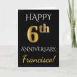 [ Thumbnail: Black, Faux Gold 6th Wedding Anniversary + Name Card ]