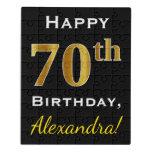 [ Thumbnail: Black, Faux Gold 70th Birthday + Custom Name Jigsaw Puzzle ]