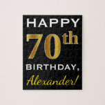 [ Thumbnail: Black, Faux Gold 70th Birthday + Custom Name Jigsaw Puzzle ]