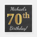 [ Thumbnail: Black, Faux Gold 70th Birthday + Custom Name Paper Napkin ]