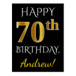 [ Thumbnail: Black, Faux Gold 70th Birthday + Custom Name Postcard ]