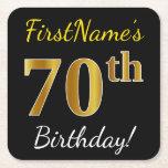 [ Thumbnail: Black, Faux Gold 70th Birthday + Custom Name Paper Coaster ]