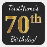 [ Thumbnail: Black, Faux Gold 70th Birthday + Custom Name Sticker ]