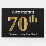 [ Thumbnail: Black, Faux Gold 70th Birthday Party + Custom Name Guest Book ]