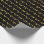 [ Thumbnail: Black, Faux Gold 70th (Seventieth) Event Wrapping Paper ]