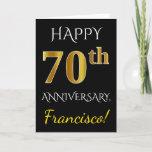 [ Thumbnail: Black, Faux Gold 70th Wedding Anniversary + Name Card ]