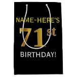 [ Thumbnail: Black, Faux Gold 71st Birthday + Custom Name Gift Bag ]