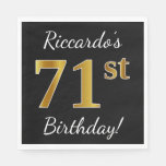 [ Thumbnail: Black, Faux Gold 71st Birthday + Custom Name Napkin ]