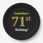 [ Thumbnail: Black, Faux Gold 71st Birthday + Custom Name Paper Plate ]