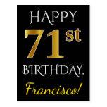 [ Thumbnail: Black, Faux Gold 71st Birthday + Custom Name Postcard ]
