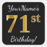 [ Thumbnail: Black, Faux Gold 71st Birthday + Custom Name Sticker ]