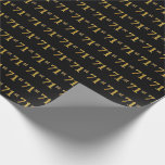 [ Thumbnail: Black, Faux Gold 71st (Seventy-First) Event Wrapping Paper ]
