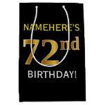 [ Thumbnail: Black, Faux Gold 72nd Birthday + Custom Name Gift Bag ]