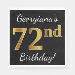 [ Thumbnail: Black, Faux Gold 72nd Birthday + Custom Name Paper Napkin ]