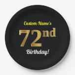 [ Thumbnail: Black, Faux Gold 72nd Birthday + Custom Name Paper Plate ]